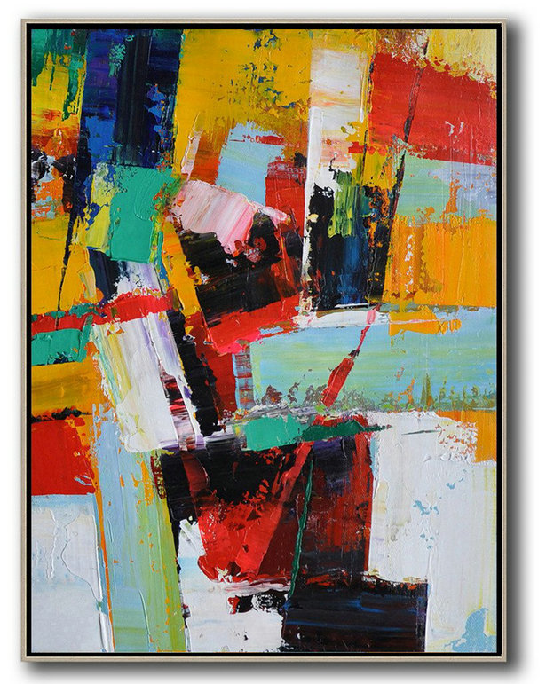Hand Painted Acrylic Painting,Vertical Palette Knife Contemporary Art,Extra Large Artwork,Yellow,Red,White,Blue.etc